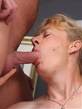 Experienced granny Maria exposes her dirty side by sucking on a cock and takes it in her box