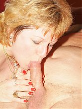 Sexy older Martha performs excellent oral to show a young hottie how to work a cock stiff live