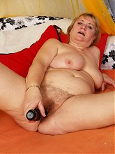 Big lady playing with her toys
