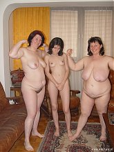 Two older lesbians having fun with a younger one