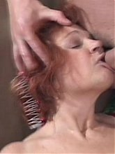 Wild granny Jakie goes hardcore as she gives a blowjob while getting her pussy fucked live