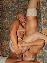 Blonde grandmas Francesca and Erlen share a cock and take turns in getting fucked in this raunchy threesome