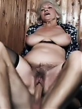 Naughty grandma Erin goes down to suck a cock and later welcomes it in her old cooter